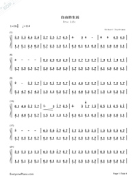 Free Life-Richard Clayderman-Numbered-Musical-Notation-Preview-1