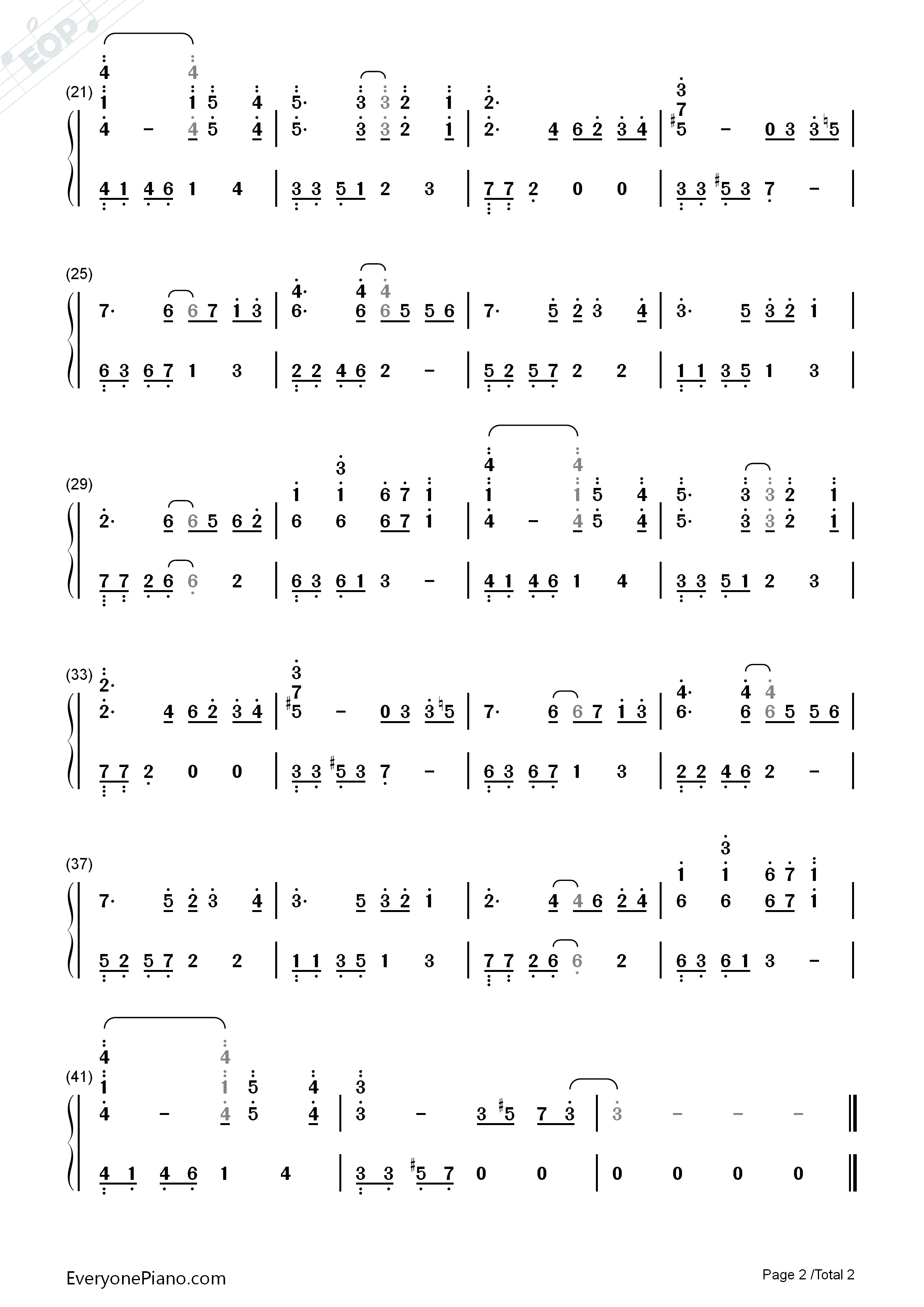 Snow Leopard BGM Numbered Musical Notation Preview 2