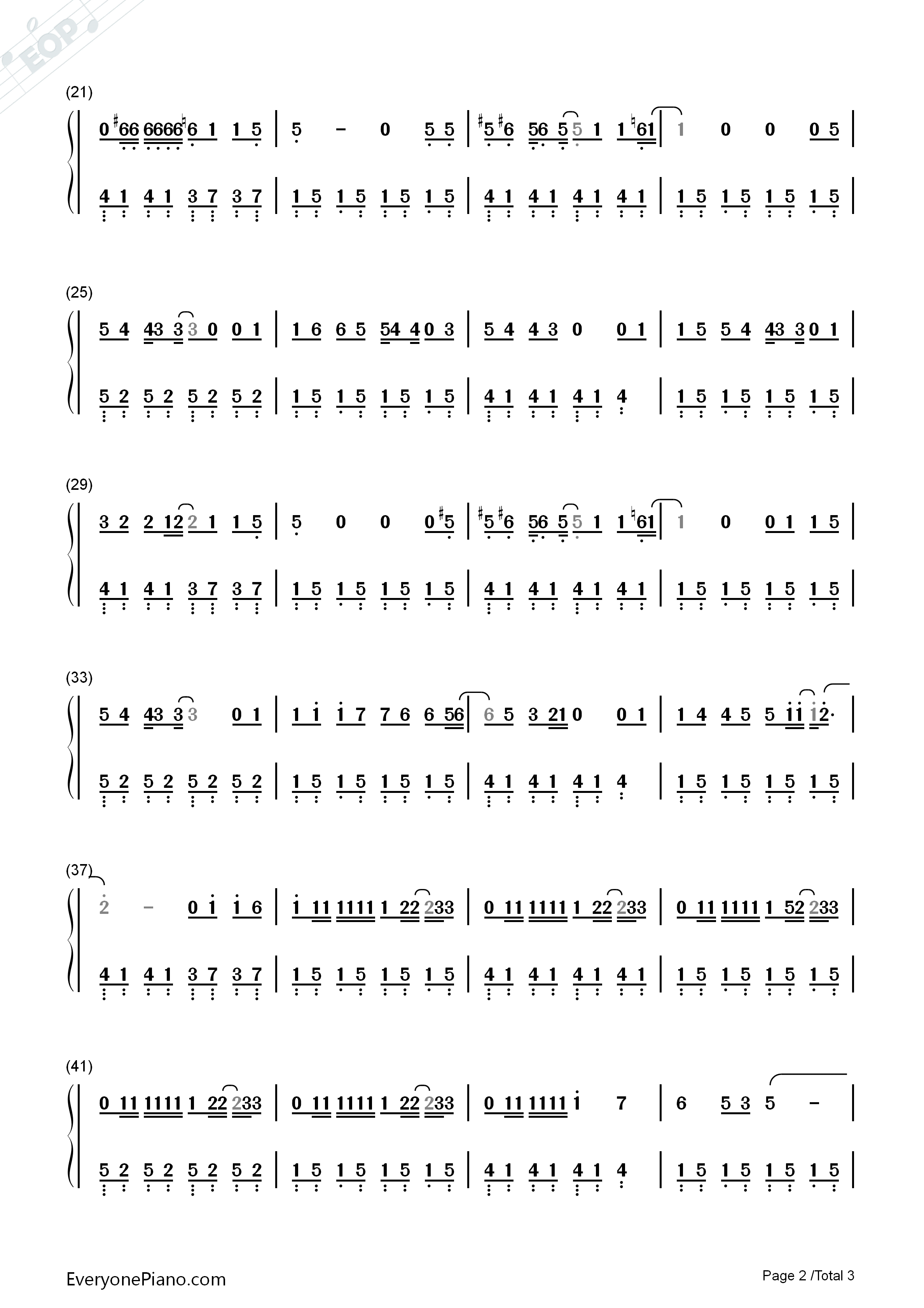 Remember Me-Full Version-Coco Them Song Numbered Musical Notation Preview 2