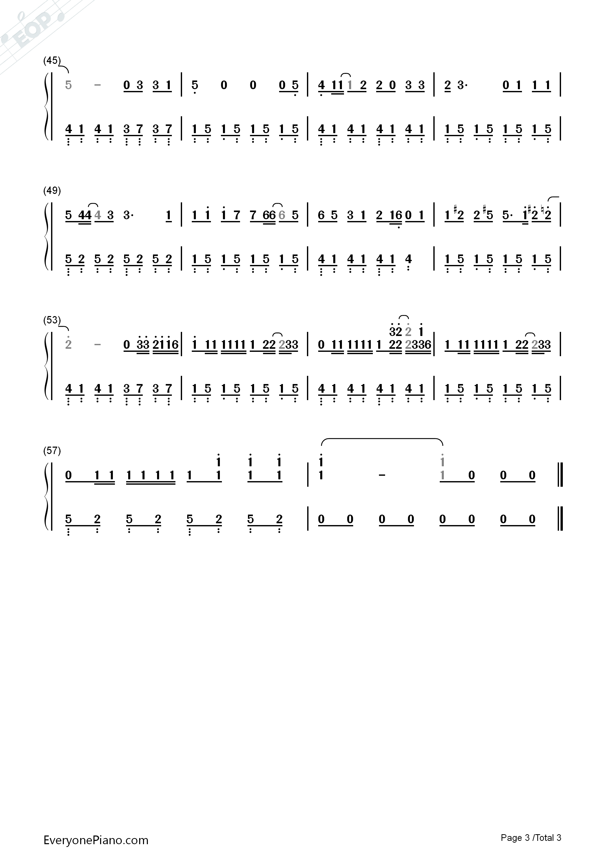 Remember Me-Full Version-Coco Them Song Numbered Musical Notation Preview 3