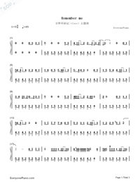 Remember Me-Full Version-Coco Them Song Numbered Musical Notation Preview 1