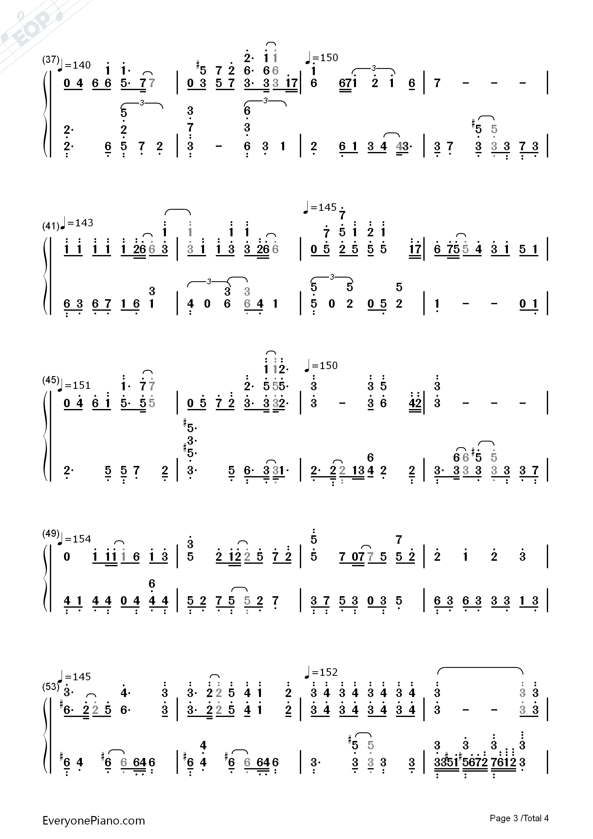 Break Up-Digimon Adventure 02 OST Numbered Musical Notation Preview 3