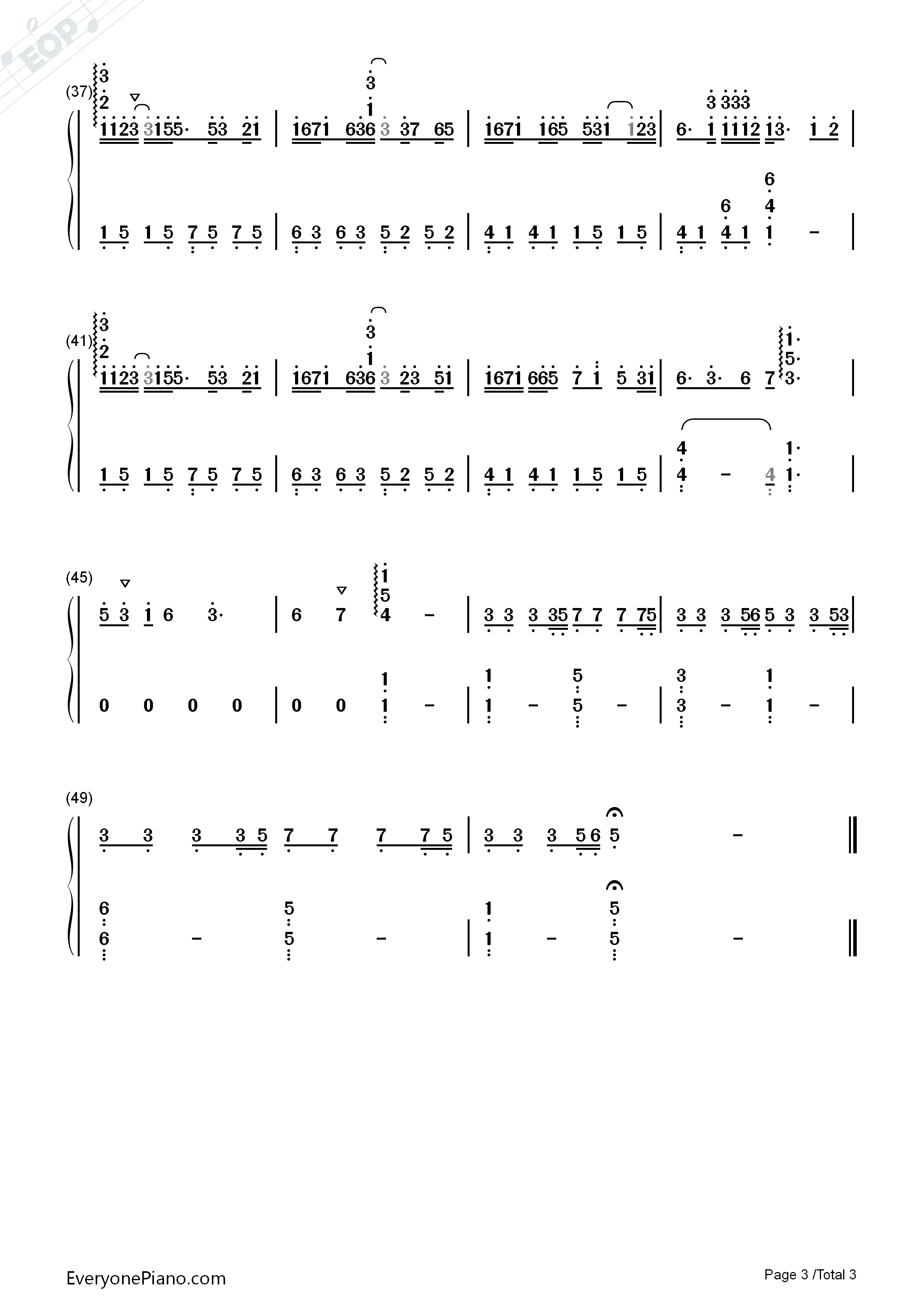 Be Graceful-Perfect Version Numbered Musical Notation Preview 3