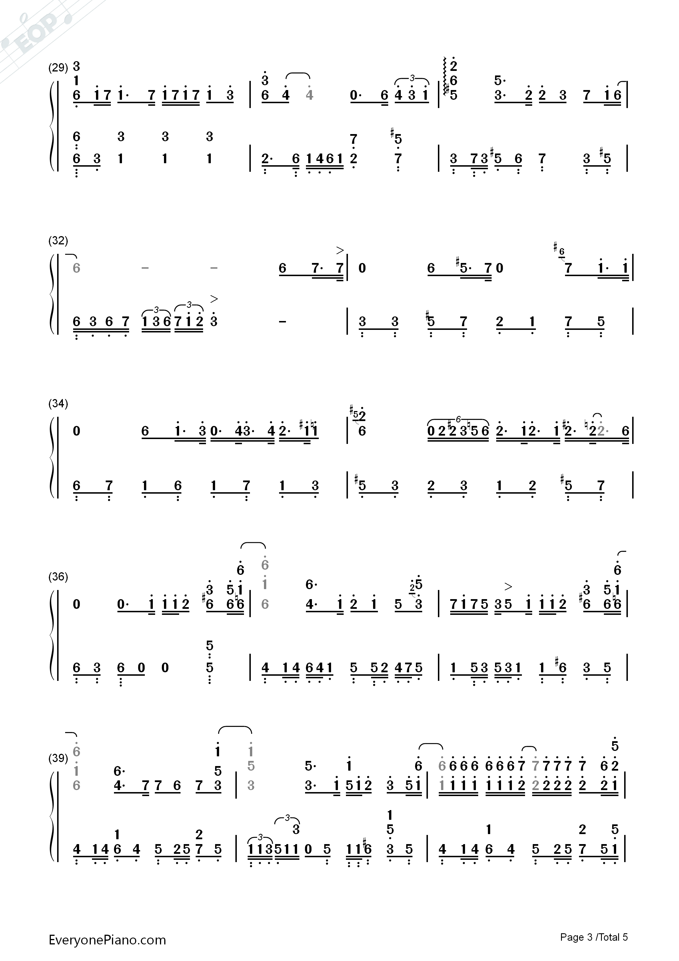 Break Up-Perfect Version Numbered Musical Notation Preview 3