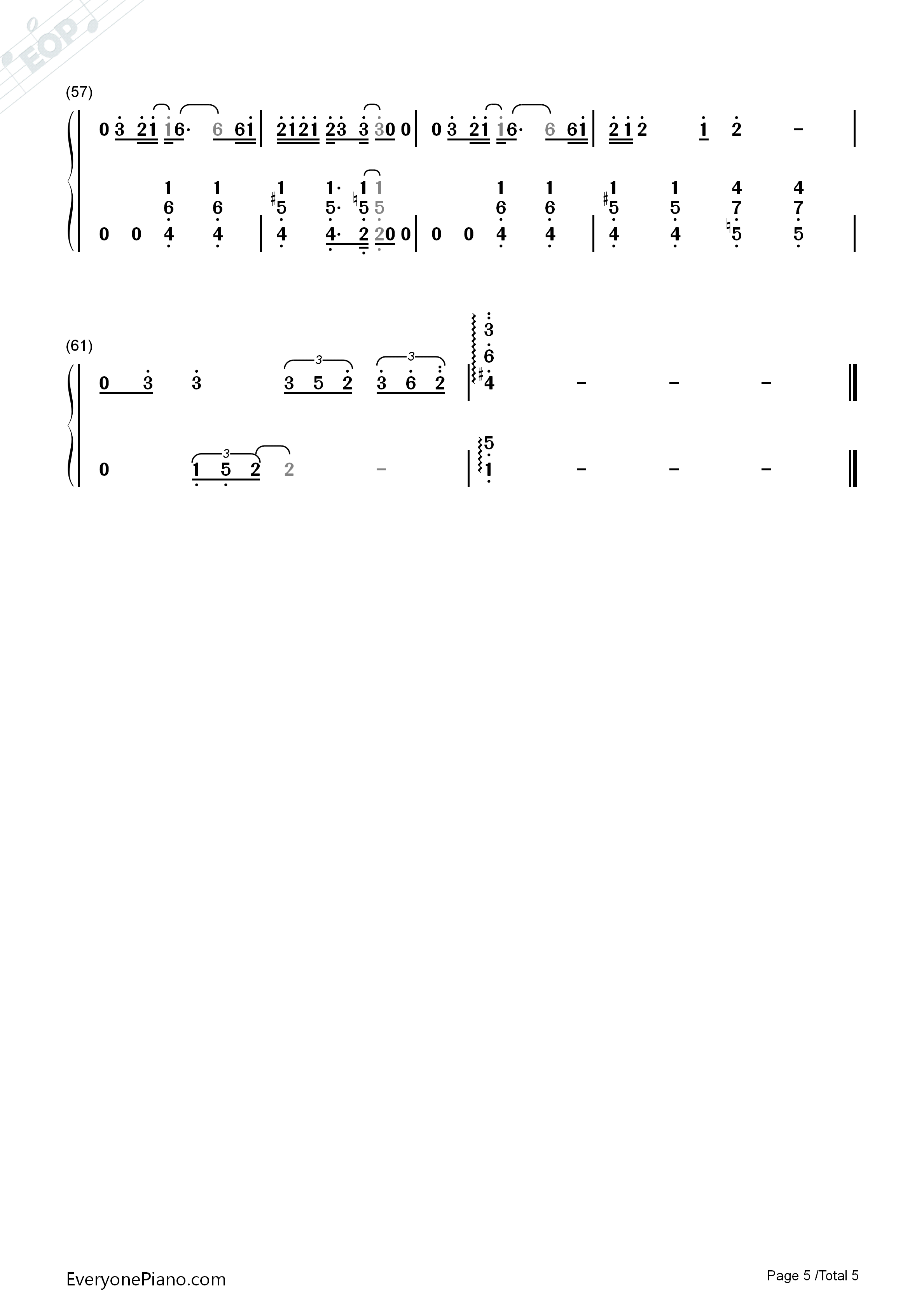 Break Up-Perfect Version Numbered Musical Notation Preview 5