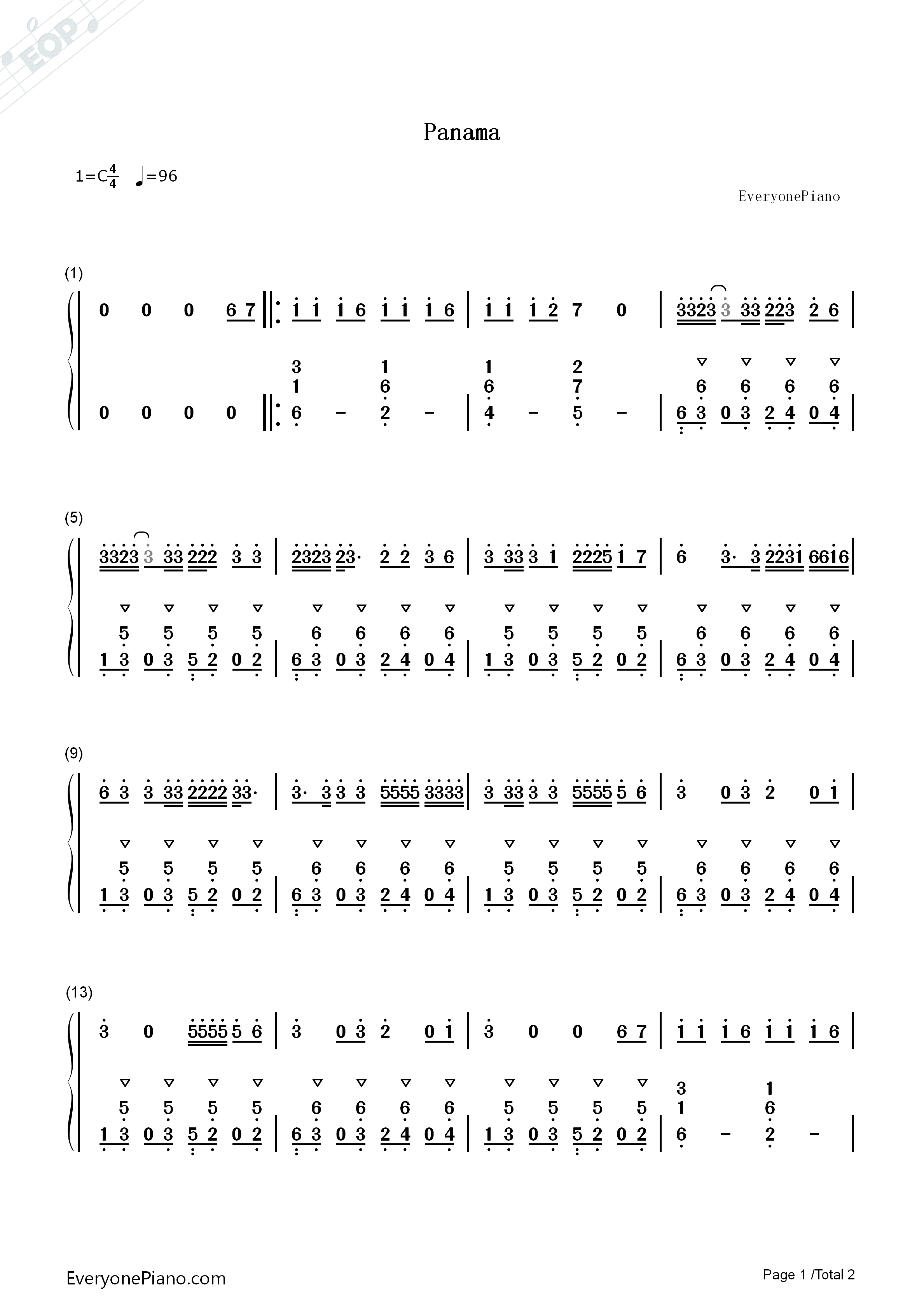 Panama-Matteo Numbered Musical Notation Preview 1