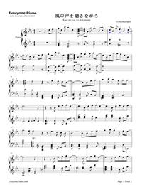 风の声を聴きながら-Slow Start ED五線譜プレビュー1