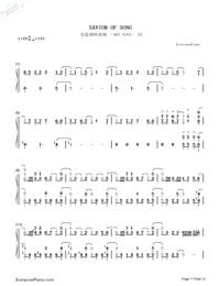 SAVIOR OF SONG-蒼き鋼のアルペジオ -アルス・ノヴァ-OP両手略譜プレビュー1