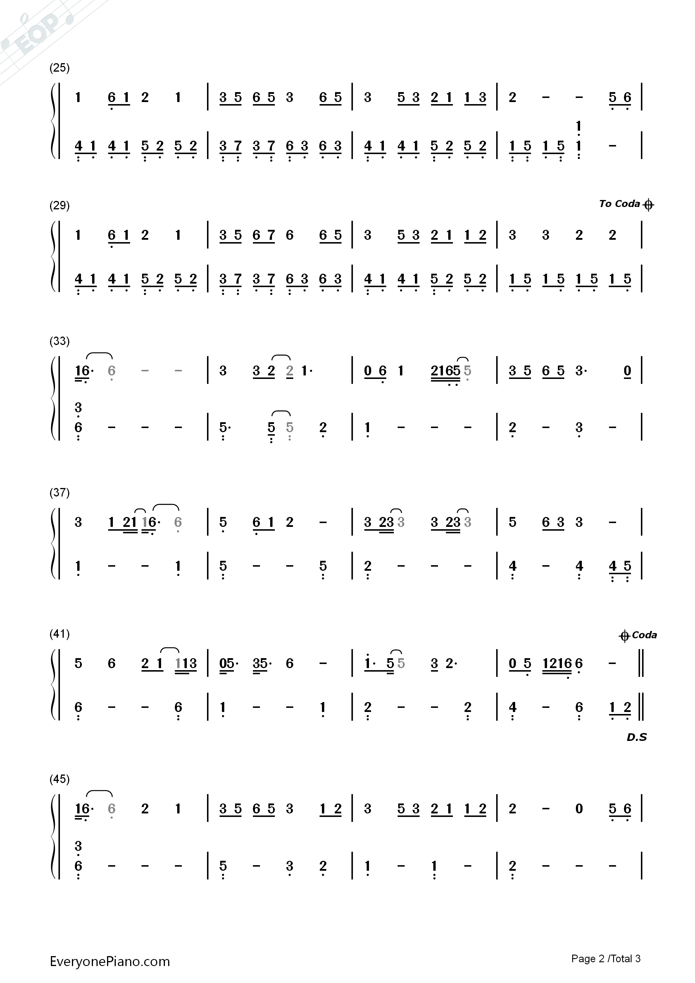 Bridge of Fate-The Great Wall ED Numbered Musical Notation Preview 2