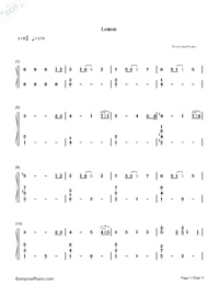 Lemon-Unnatural Main Theme-Numbered-Musical-Notation-Preview-1