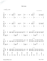 Horizon-Simple Version Numbered Musical Notation Preview 1