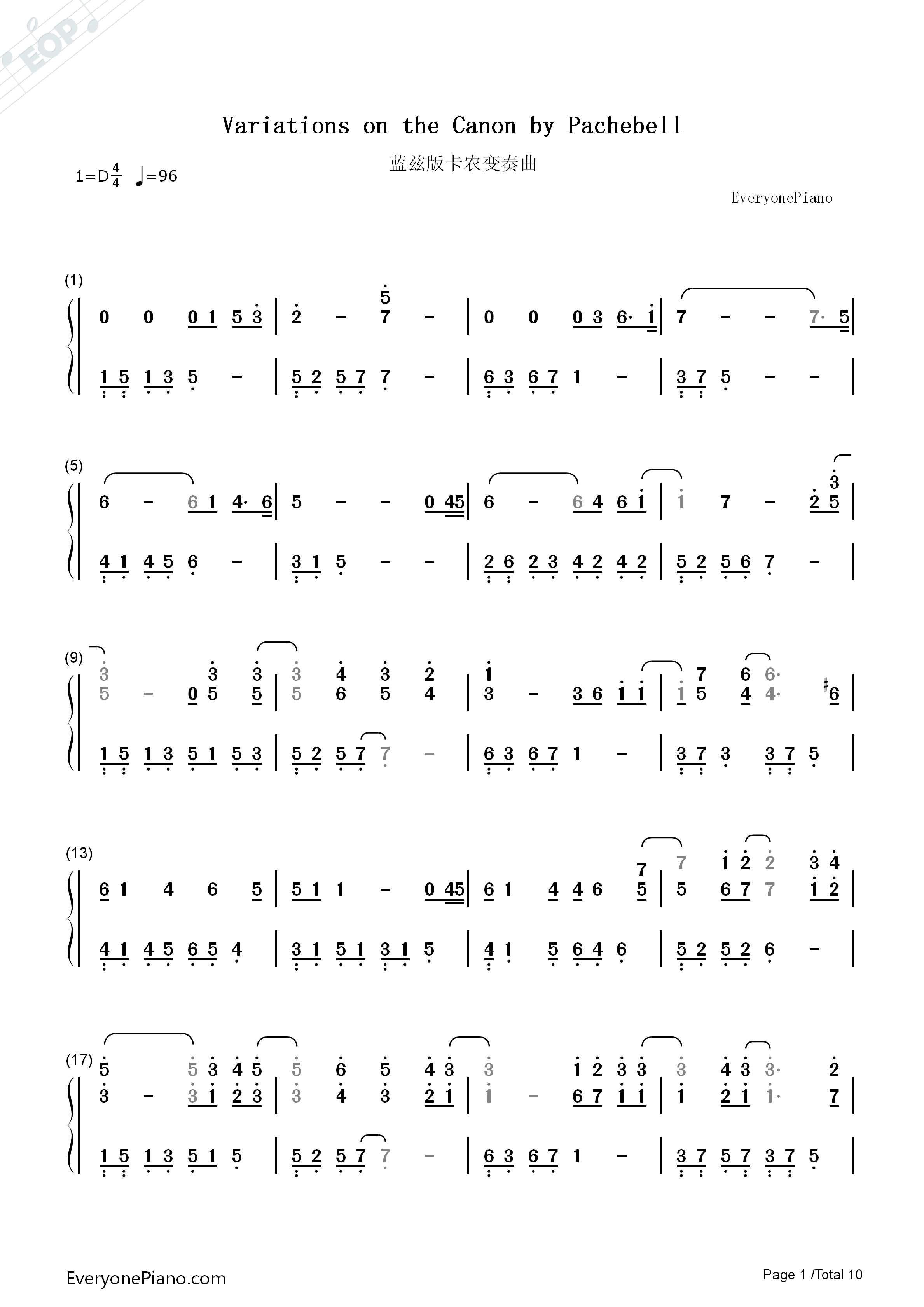 Variations On The Canon-David Lanz Numbered Musical Notation Preview 1