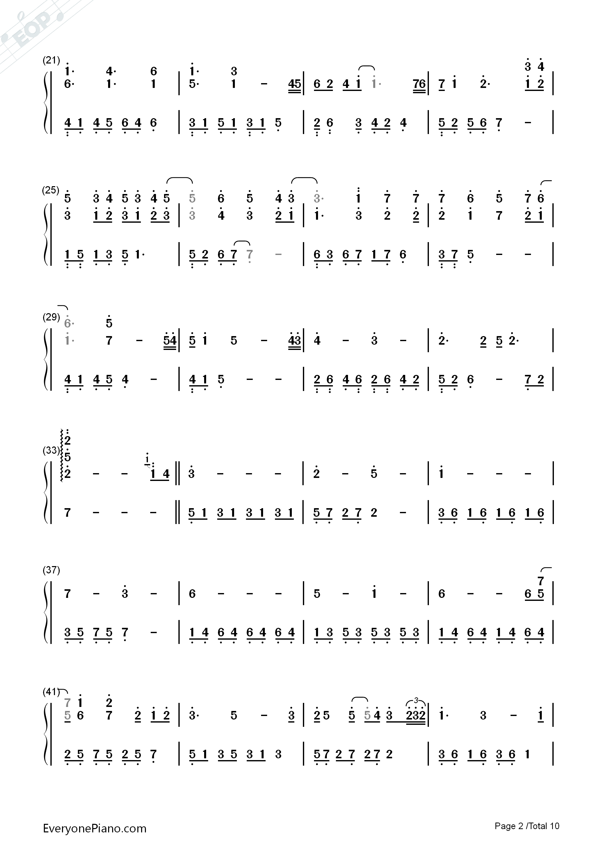 Variations On The Canon-David Lanz Numbered Musical Notation Preview 2