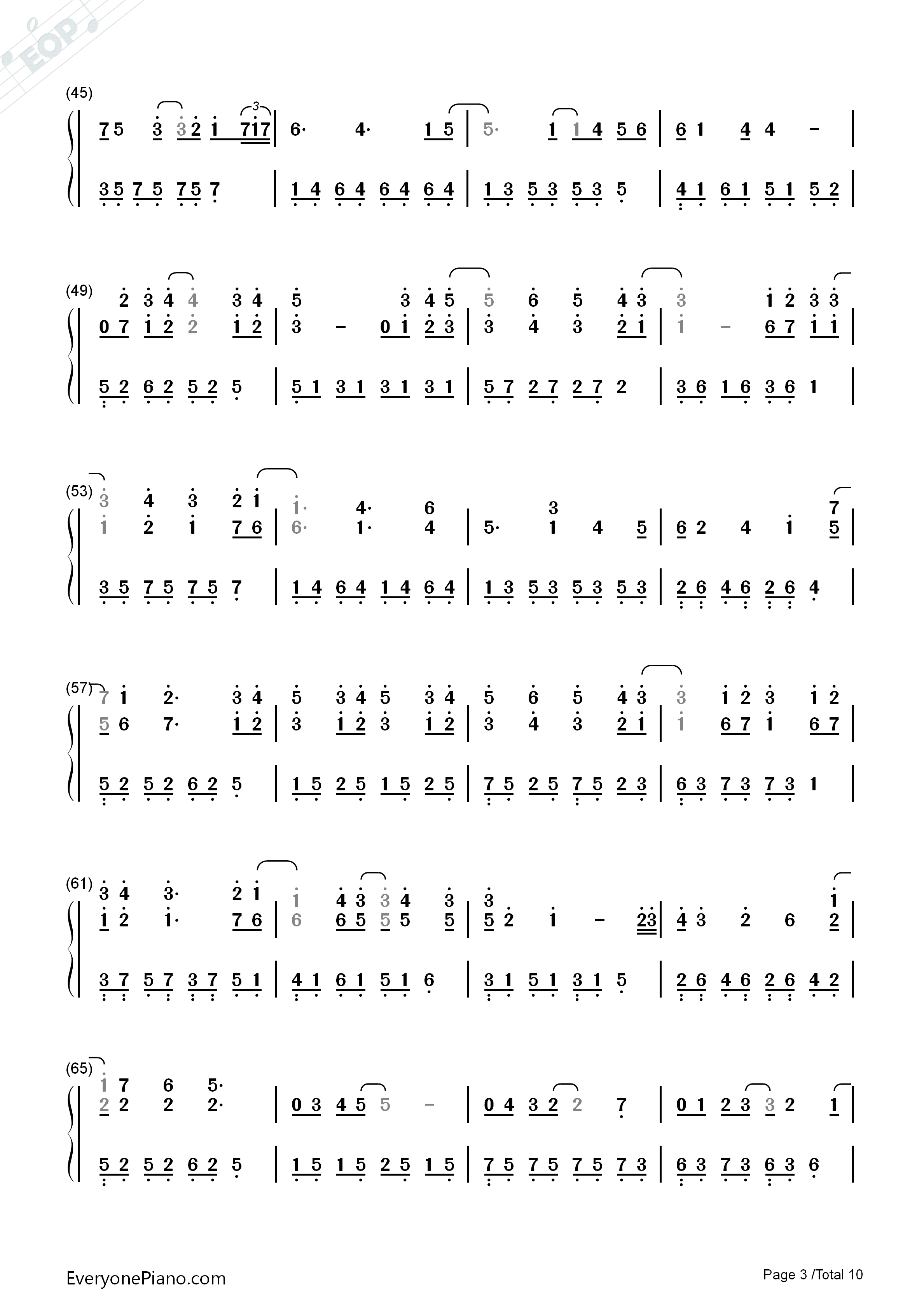 Variations On The Canon-David Lanz Numbered Musical Notation Preview 3