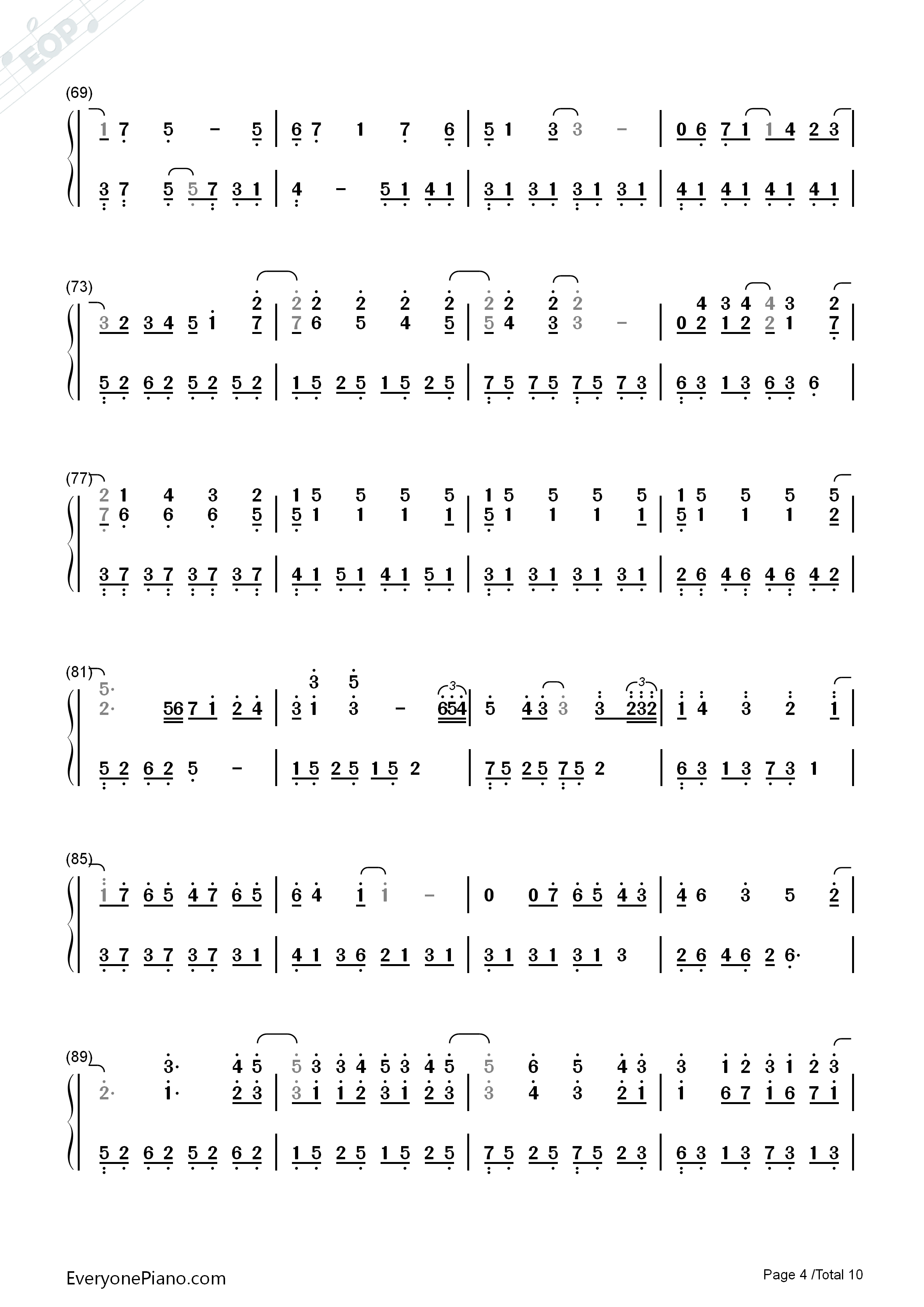 Variations On The Canon-David Lanz Numbered Musical Notation Preview 4