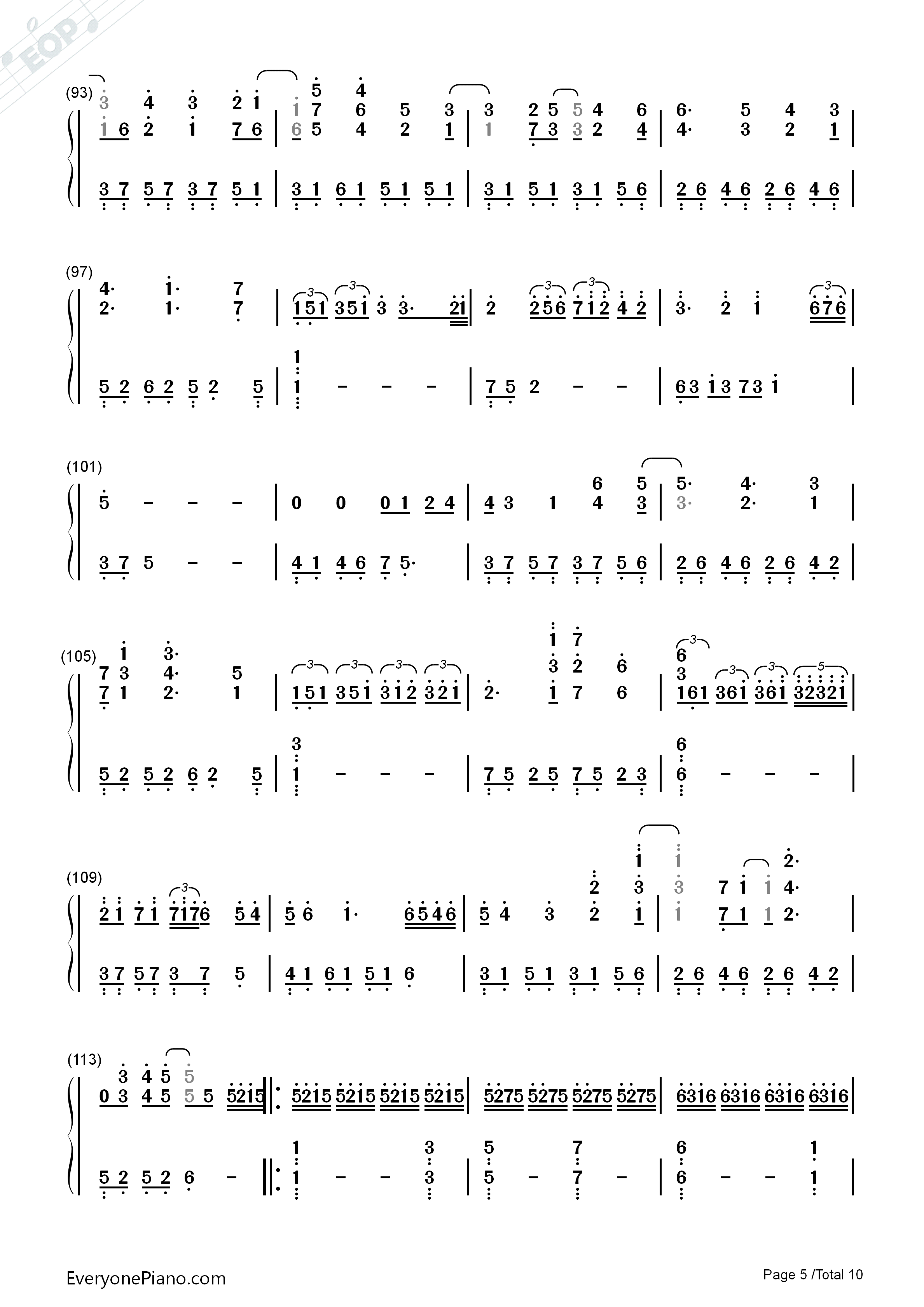 Variations On The Canon-David Lanz Numbered Musical Notation Preview 5