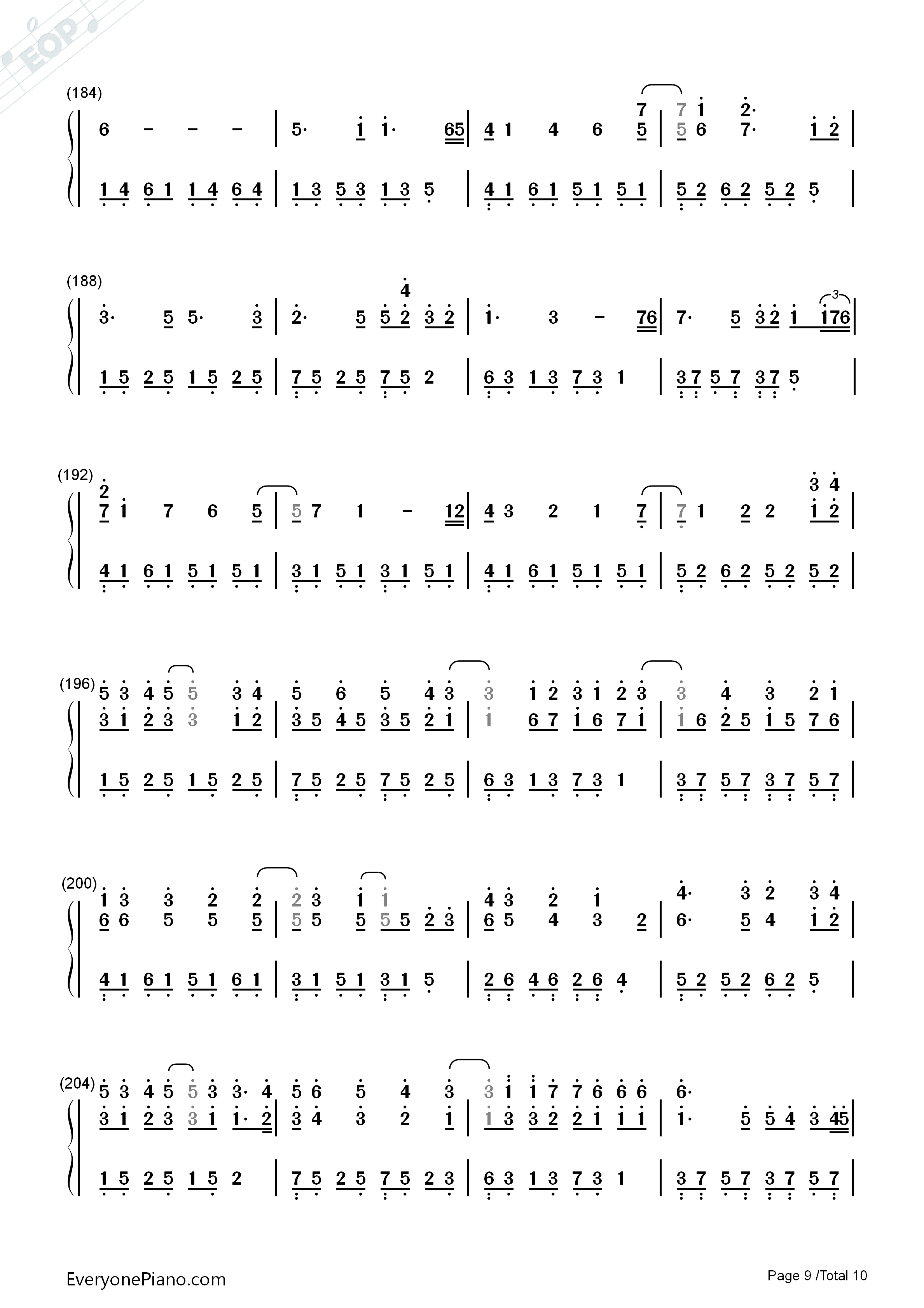 Variations On The Canon-David Lanz Numbered Musical Notation Preview 9