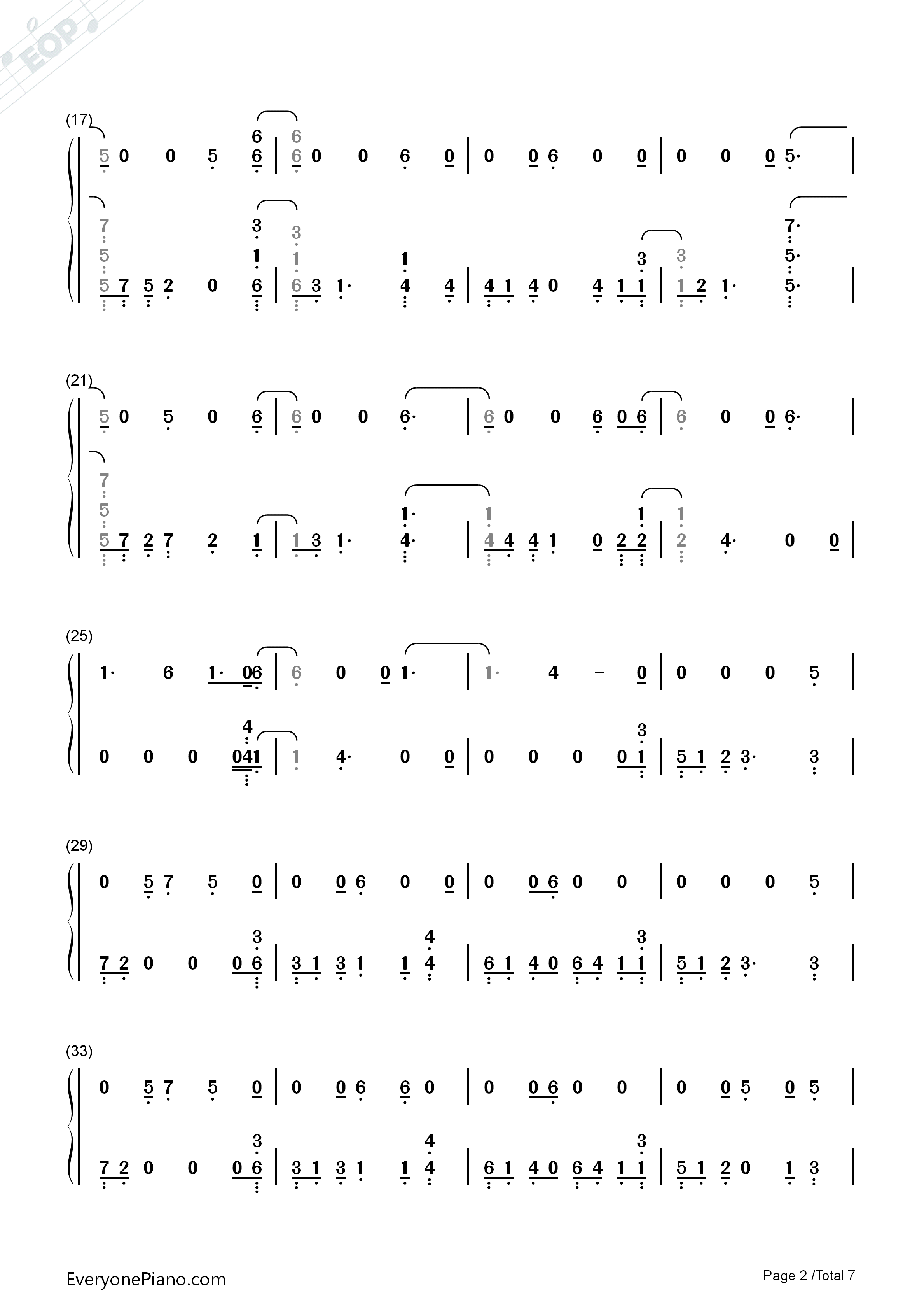 Homesick-Dua Lipa Numbered Musical Notation Preview 2