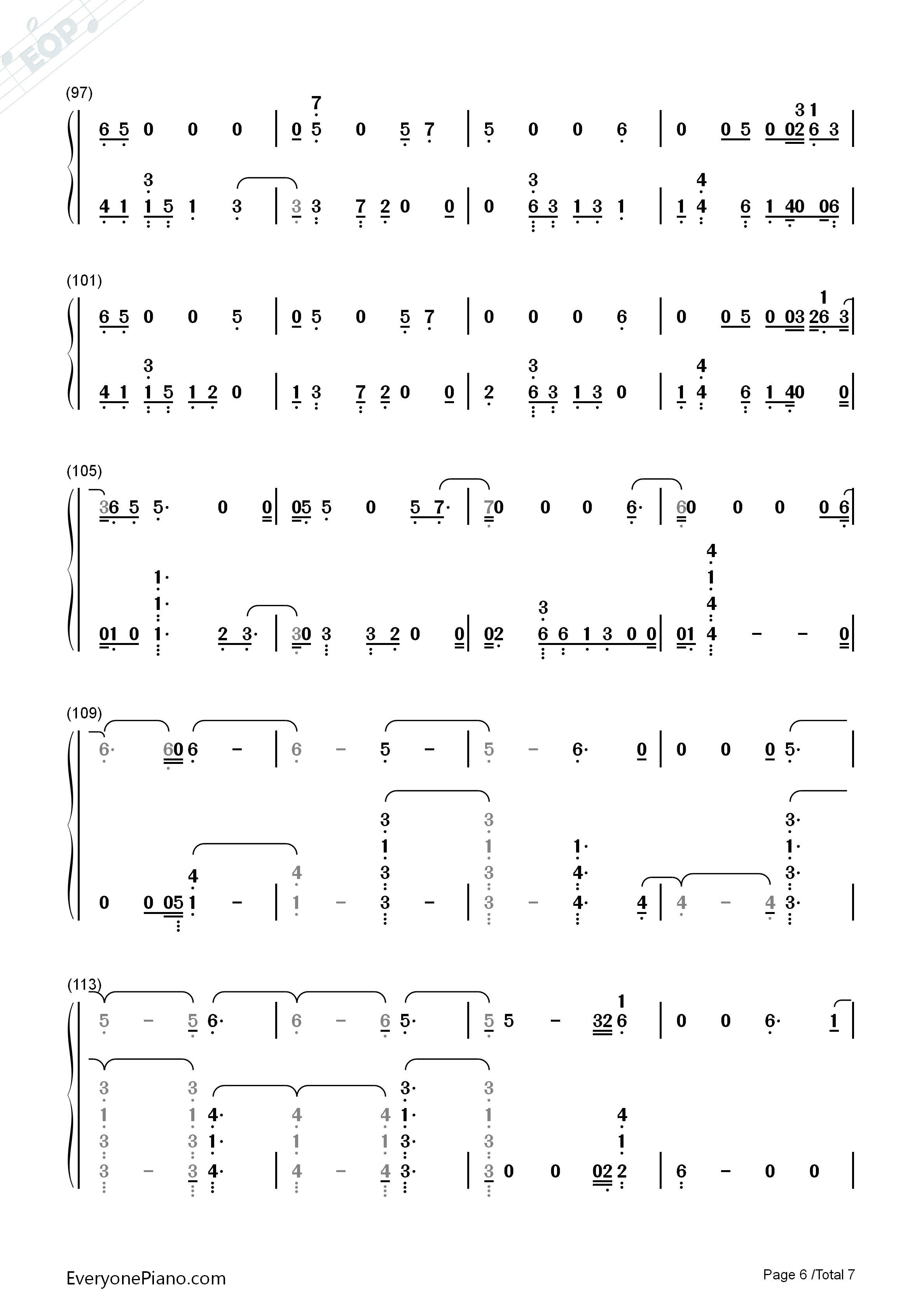 Homesick-Dua Lipa Numbered Musical Notation Preview 6