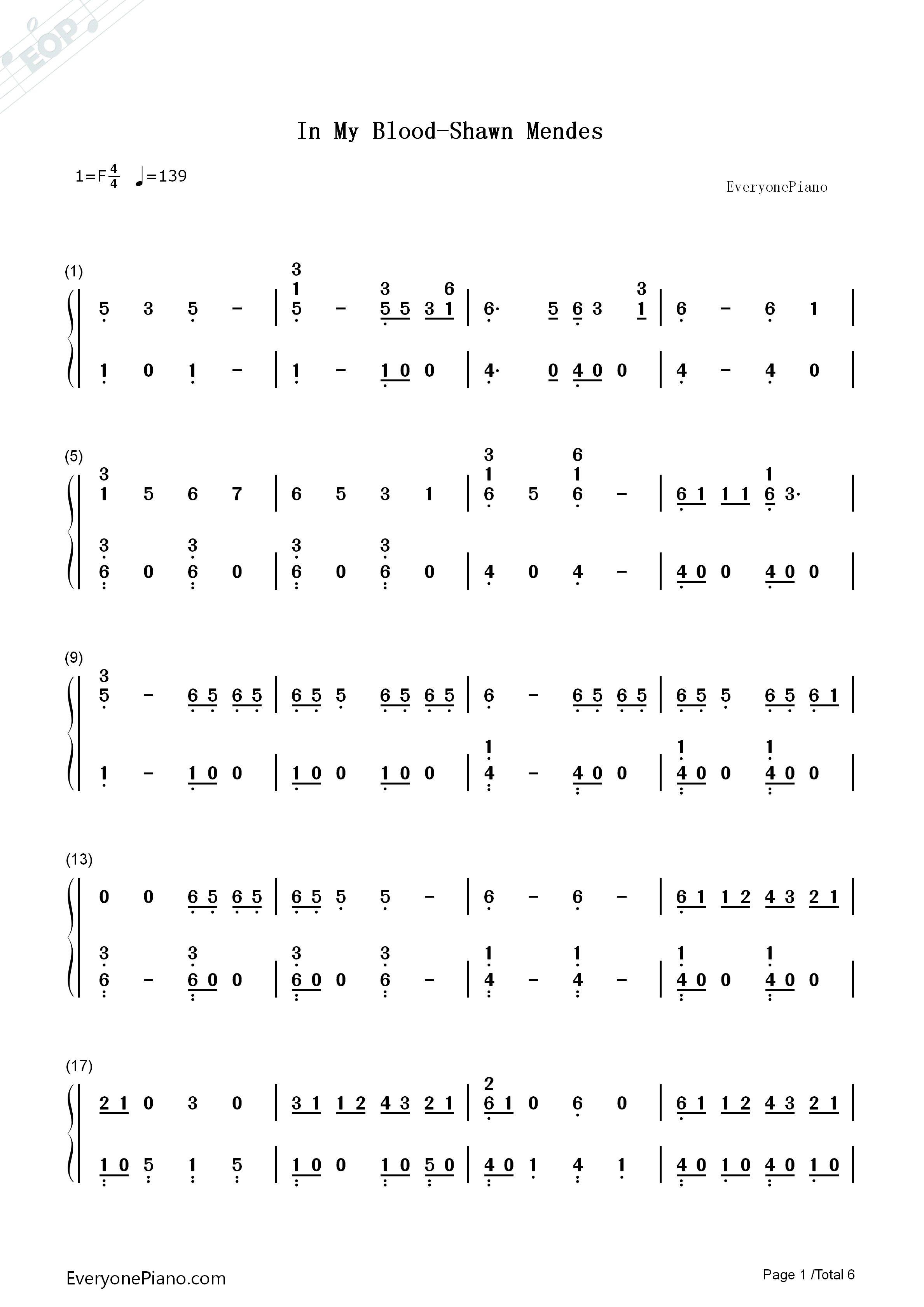 In My Blood-Shawn Mendes Numbered Musical Notation Preview 1