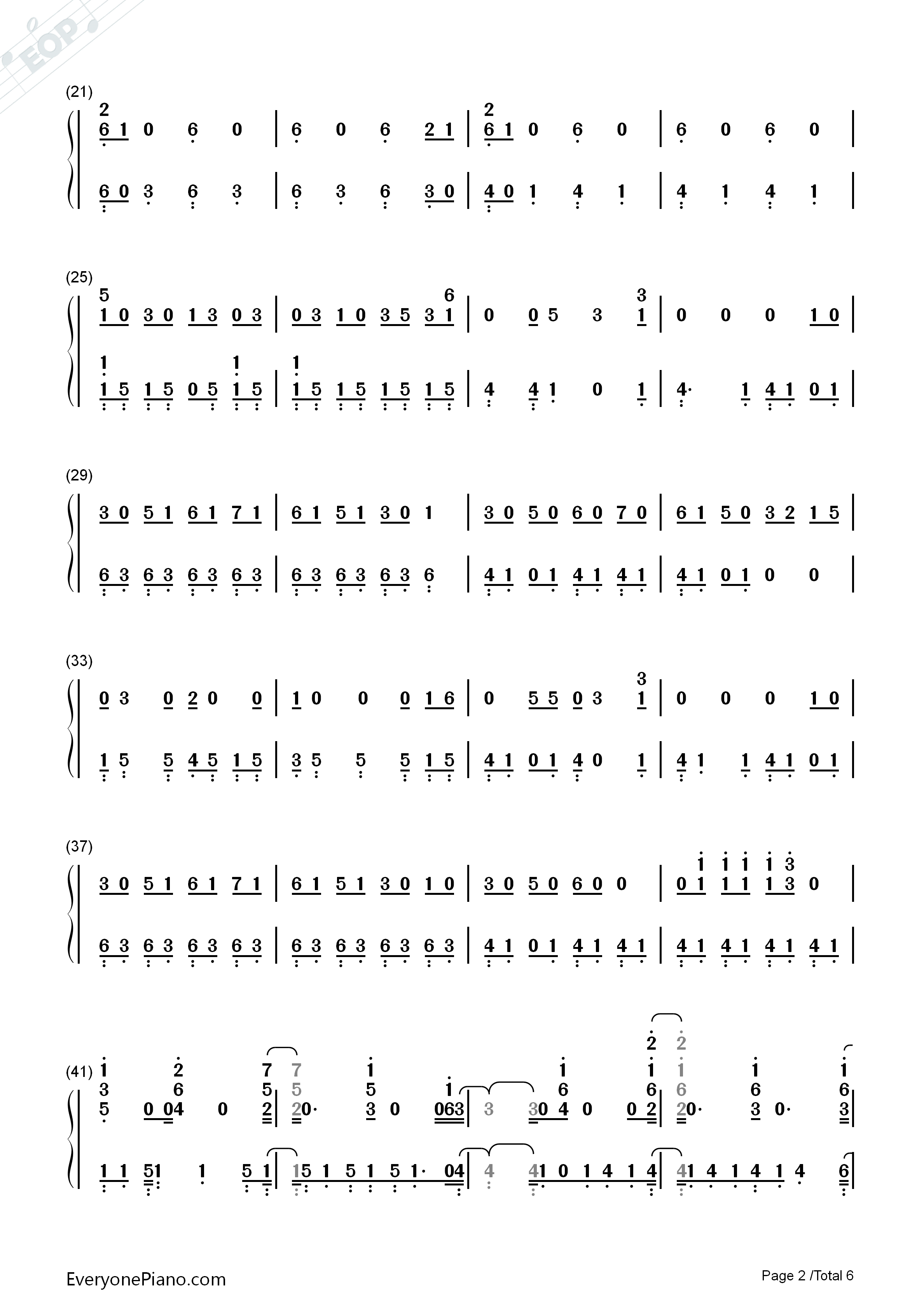 In My Blood-Shawn Mendes Numbered Musical Notation Preview 2