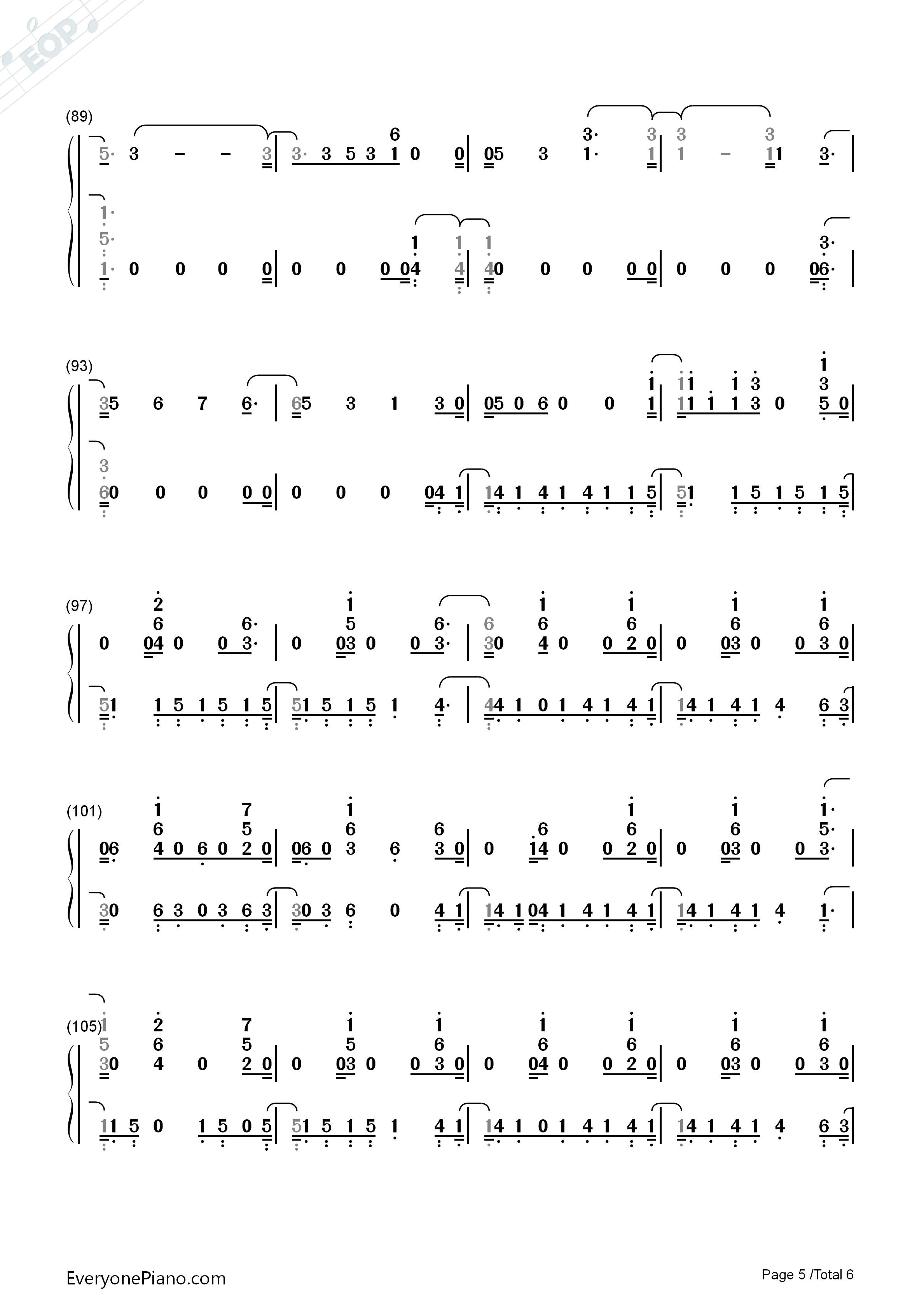 In My Blood-Shawn Mendes Numbered Musical Notation Preview 5