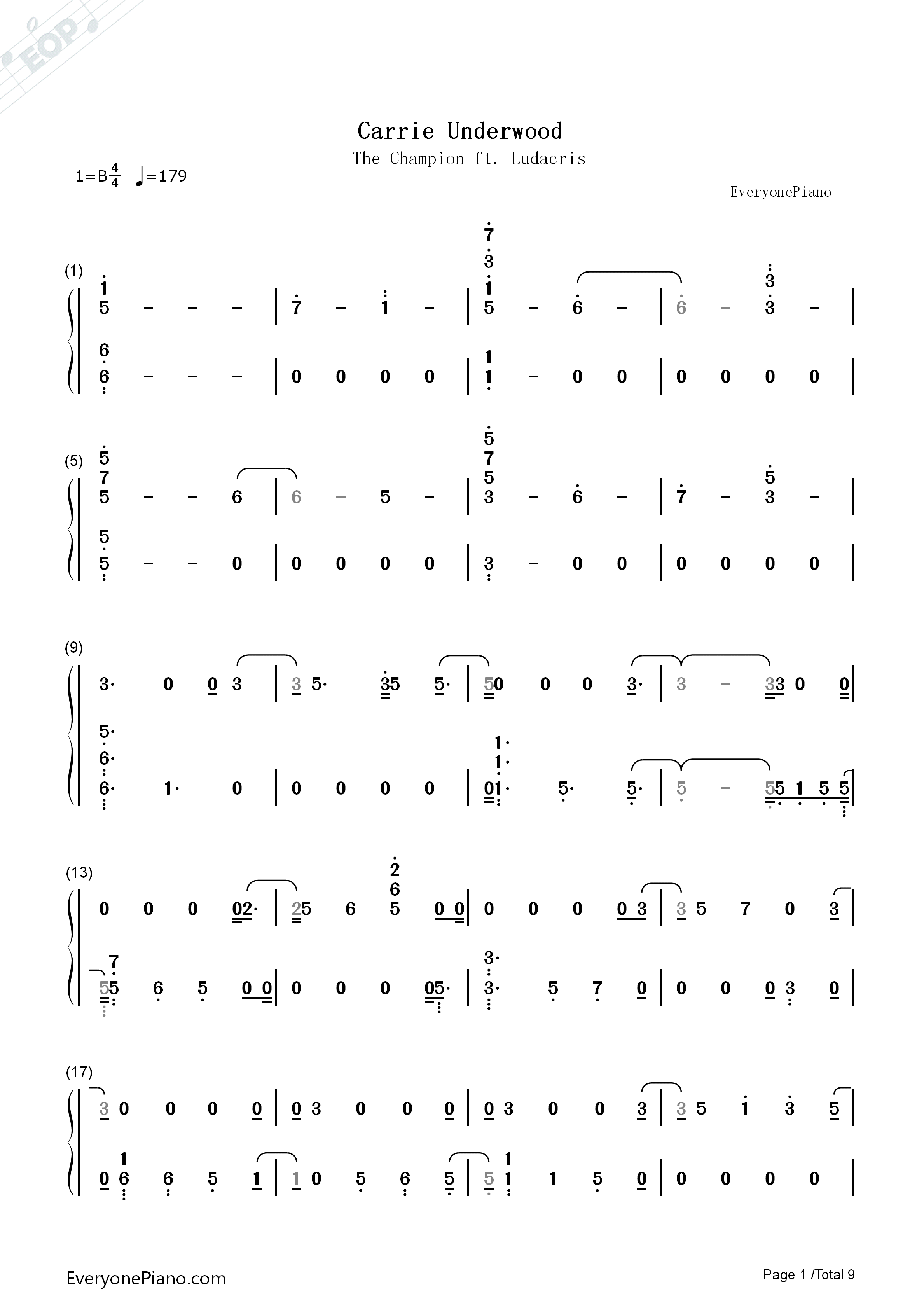 The Champion-Carrie Underwood ft Ludacris Numbered Musical Notation Preview 1