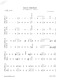 The Champion-Carrie Underwood ft Ludacris-Numbered-Musical-Notation-Preview-1