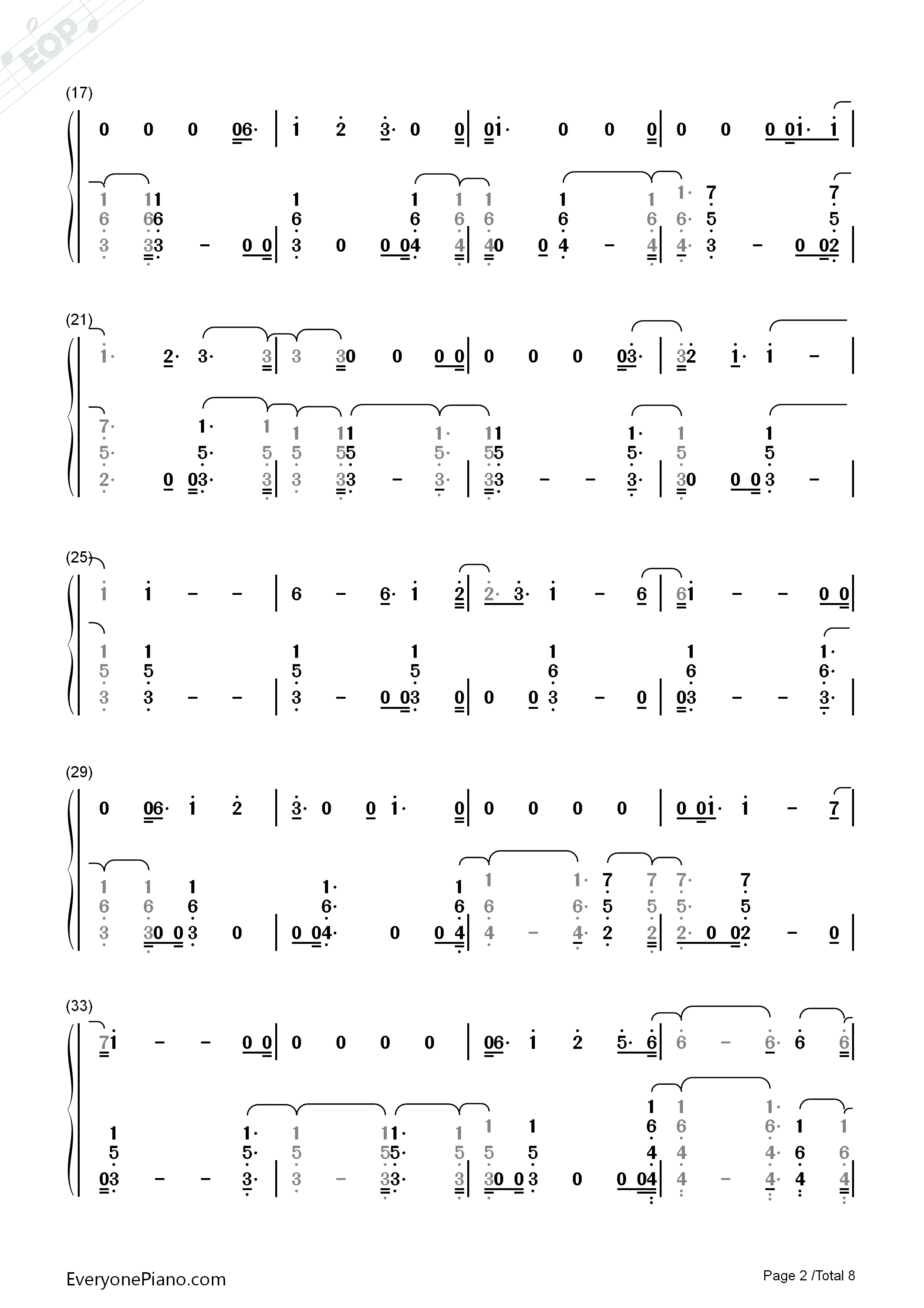 You Are The Reason-Calum Scott Numbered Musical Notation Preview 2