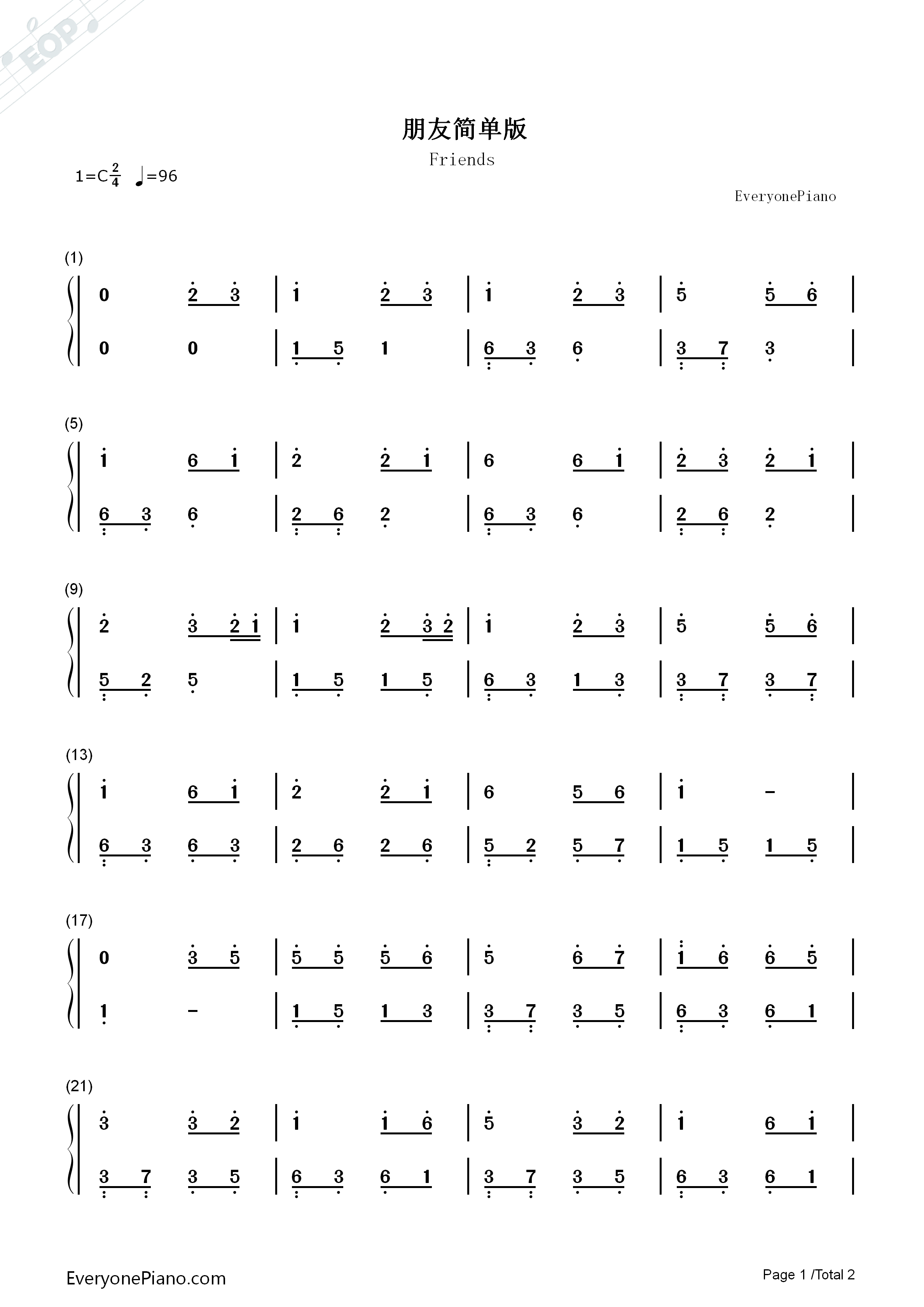 Friends Simple Version-Wakin Chau Numbered Musical Notation Preview 1