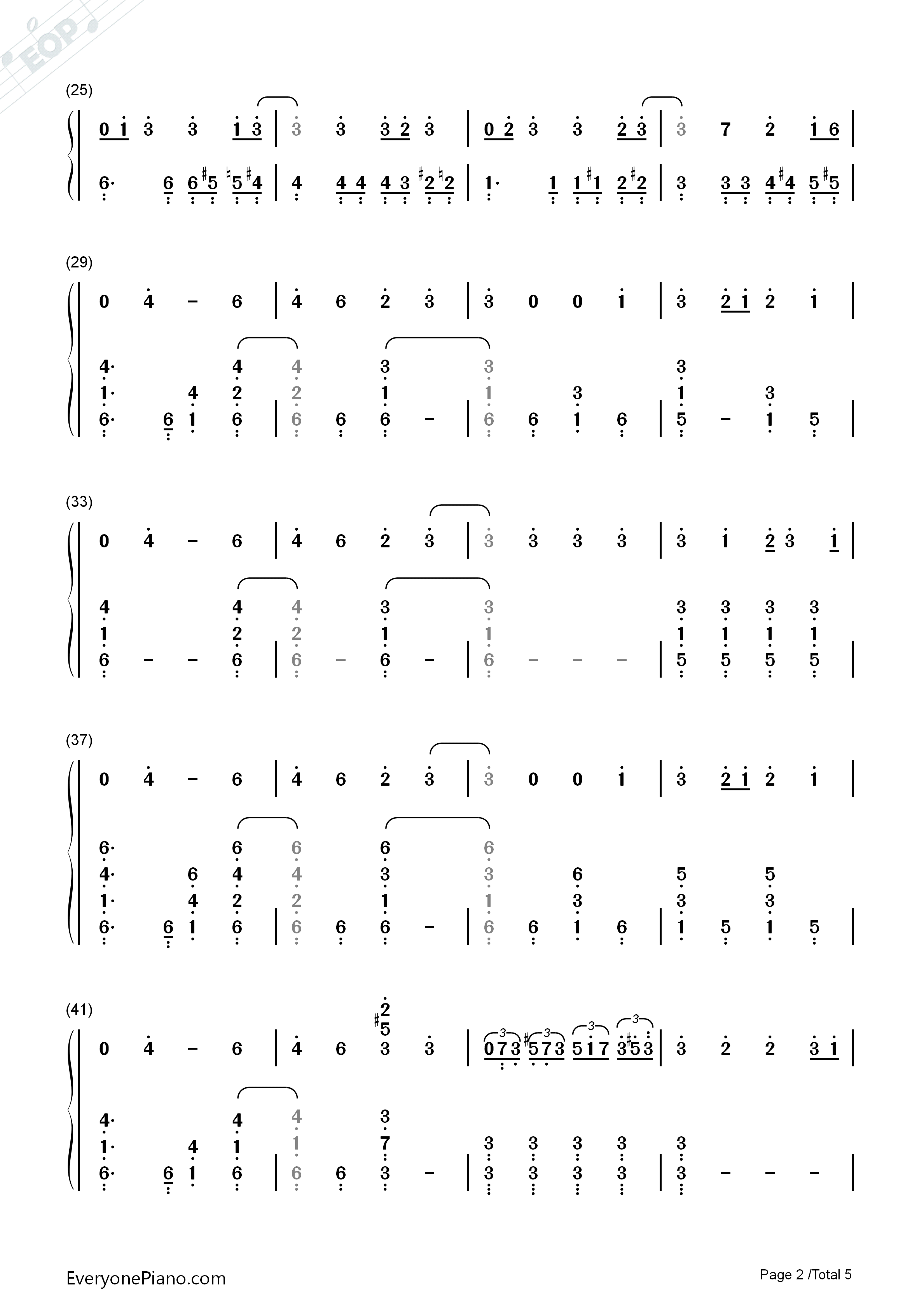 Thought Contagion-Muse Numbered Musical Notation Preview 2