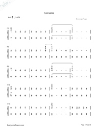 Corazón-Maluma-Numbered-Musical-Notation-Preview-1
