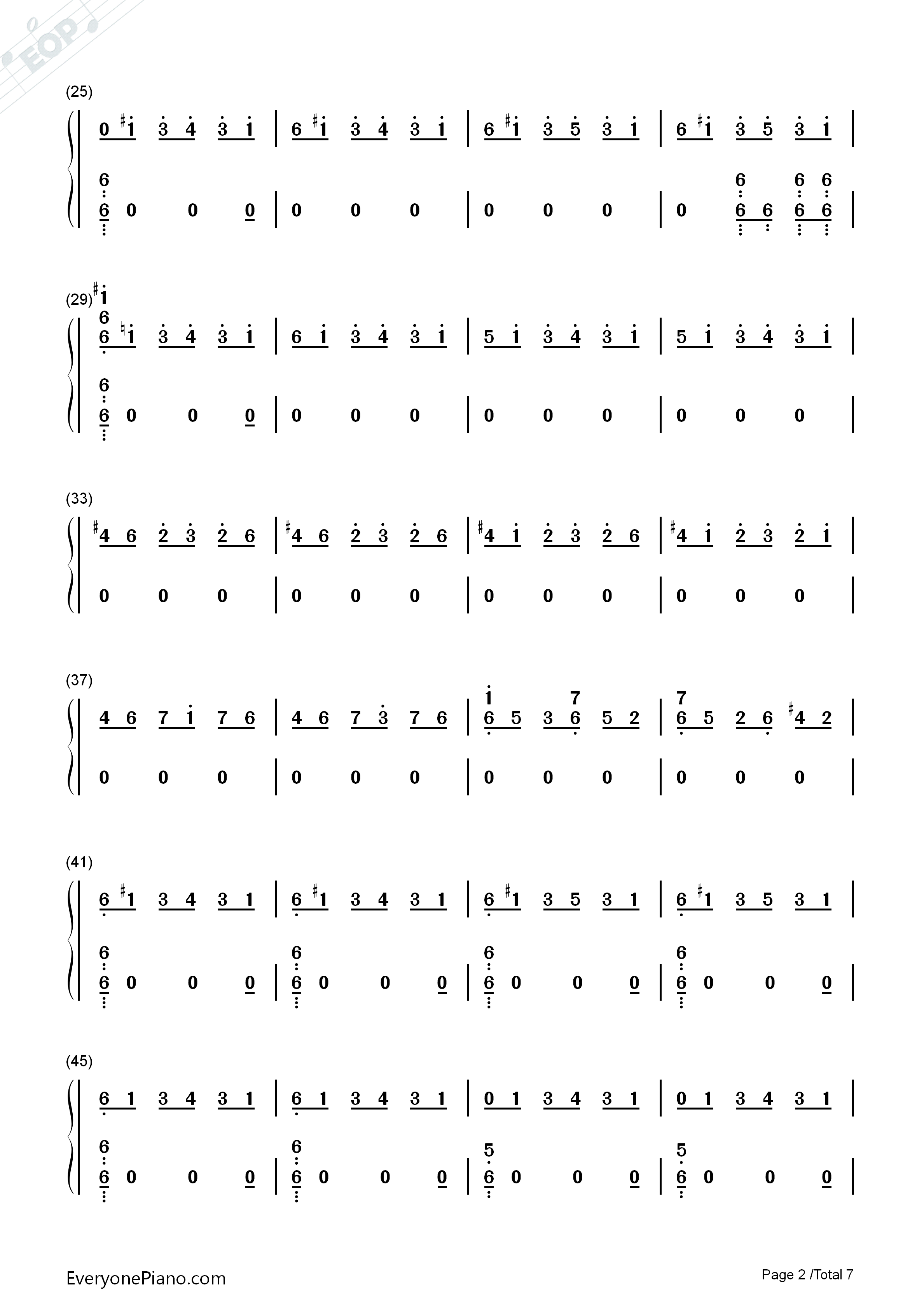 One Strange Rock-Zedd Numbered Musical Notation Preview 2