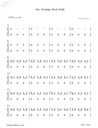 One Strange Rock-Zedd Numbered Musical Notation Preview 1