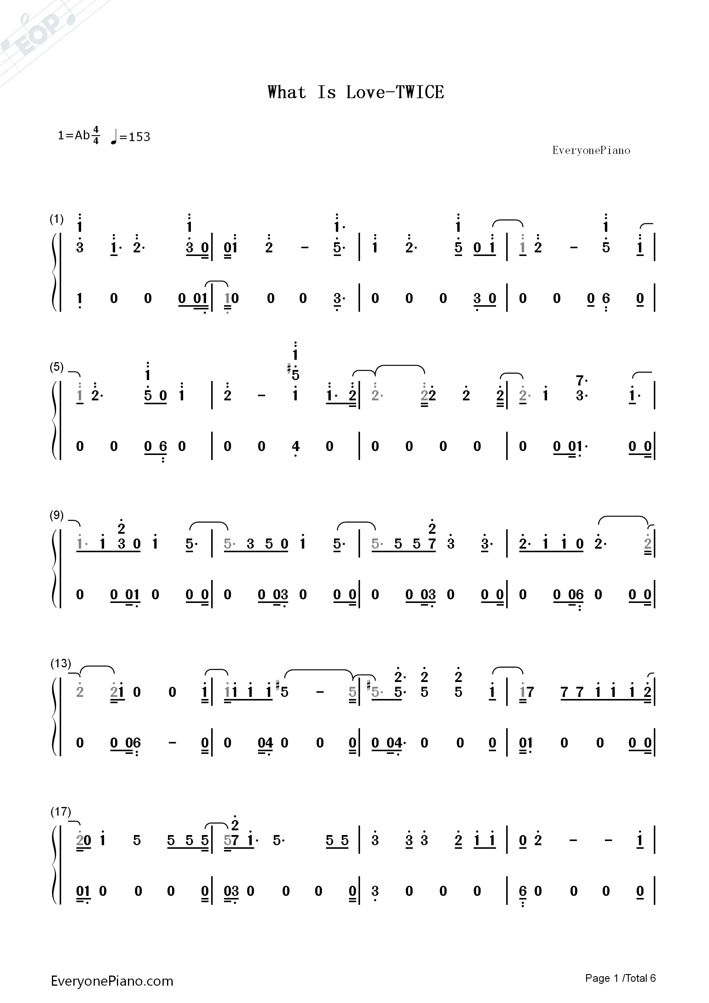 What Is Love-Twice Numbered Musical Notation Preview