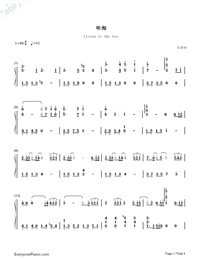 Listen to the Sea FullVersion-A-mei-Numbered-Musical-Notation-Preview-1