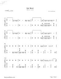 Bad Mood-Miley Cyrus Numbered Musical Notation Preview 1