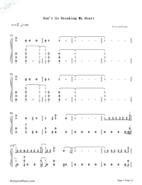 Don't Go Breaking My Heart-The Backstreet Boys Numbered Musical Notation Preview 1