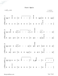 Start Again-13 Reasons Why Season 2-Numbered-Musical-Notation-Preview-1