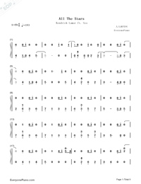 All The Stars-Black Panther OST Numbered Musical Notation Preview 1