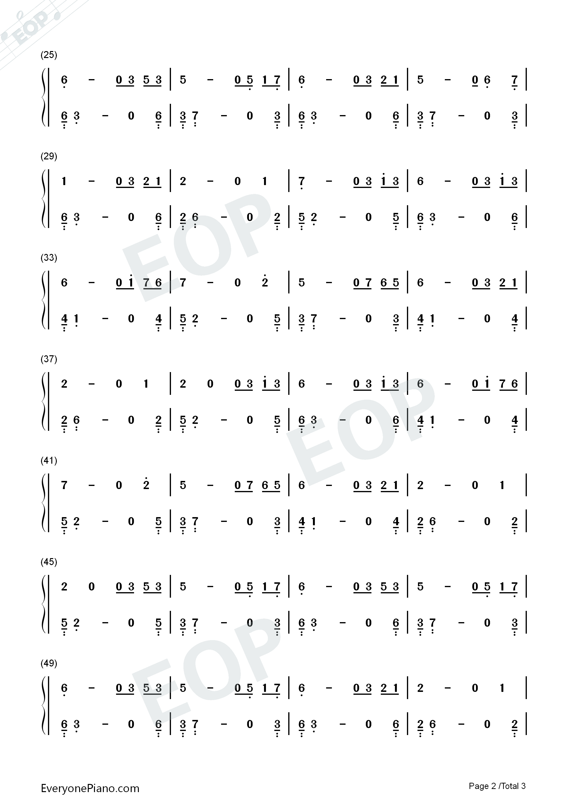 A Difference Voice-Here We Are Again Numbered Musical Notation Preview 2