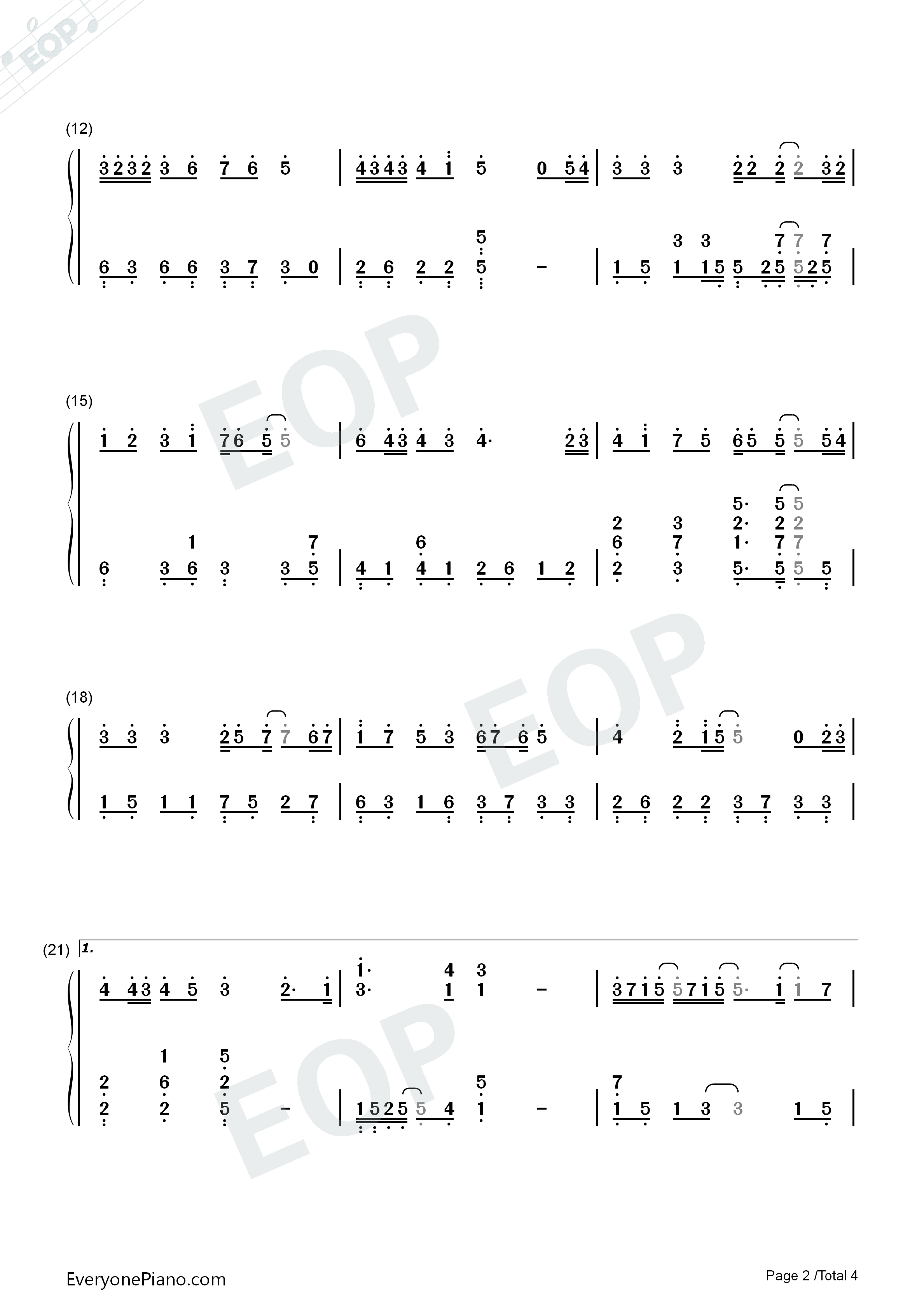 123 Don't Move Simple Version Numbered Musical Notation Preview 2
