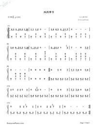 風的季節-張雲雷抖音翻唱雙手簡譜預覽1