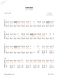 Anna's Window Highlight Part-andy Sa-Numbered-Musical-Notation-Preview-1