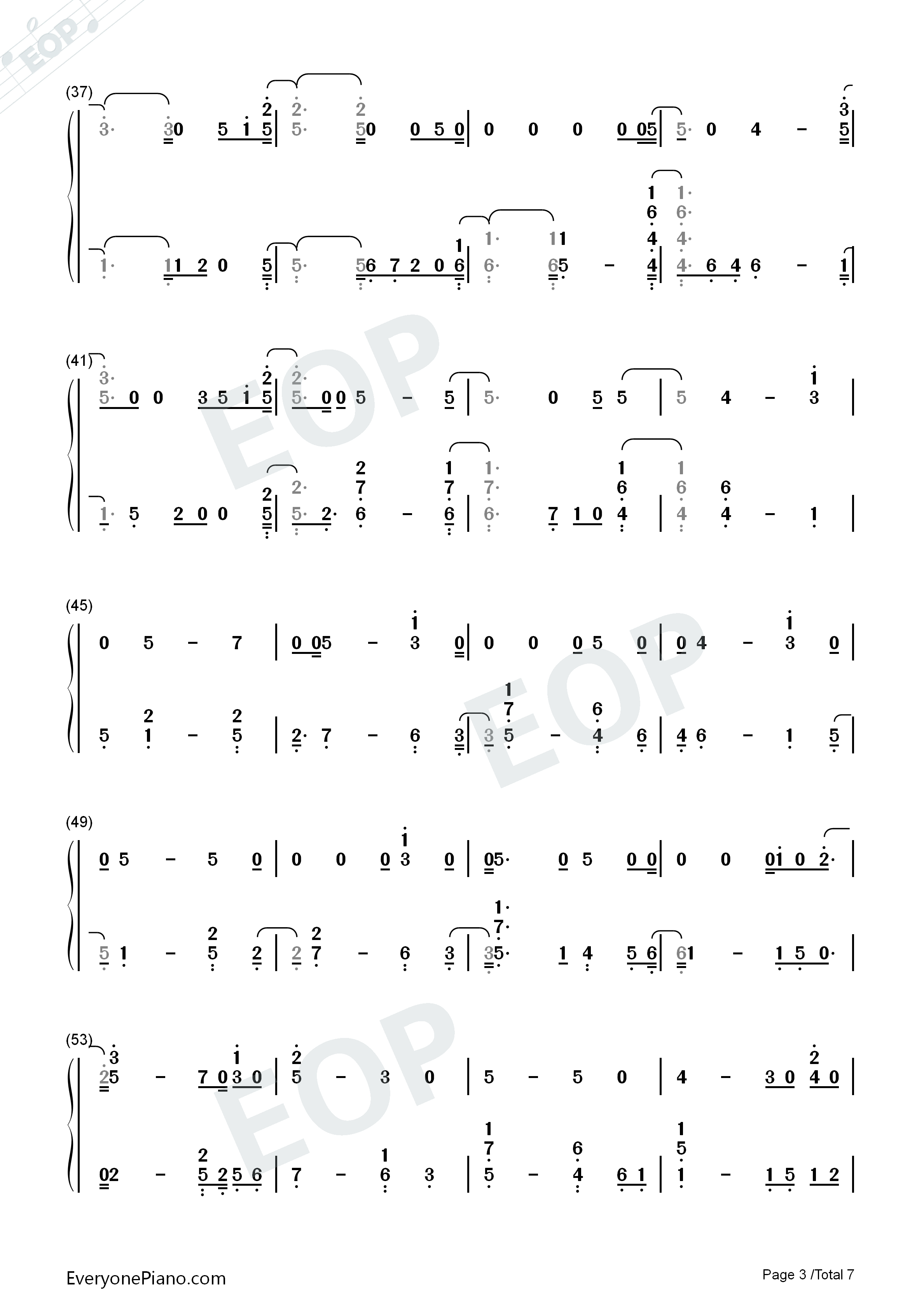 Girls Like You-Maroon 5 Numbered Musical Notation Preview 3