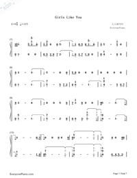Girls Like You-Maroon 5 Numbered Musical Notation Preview 1