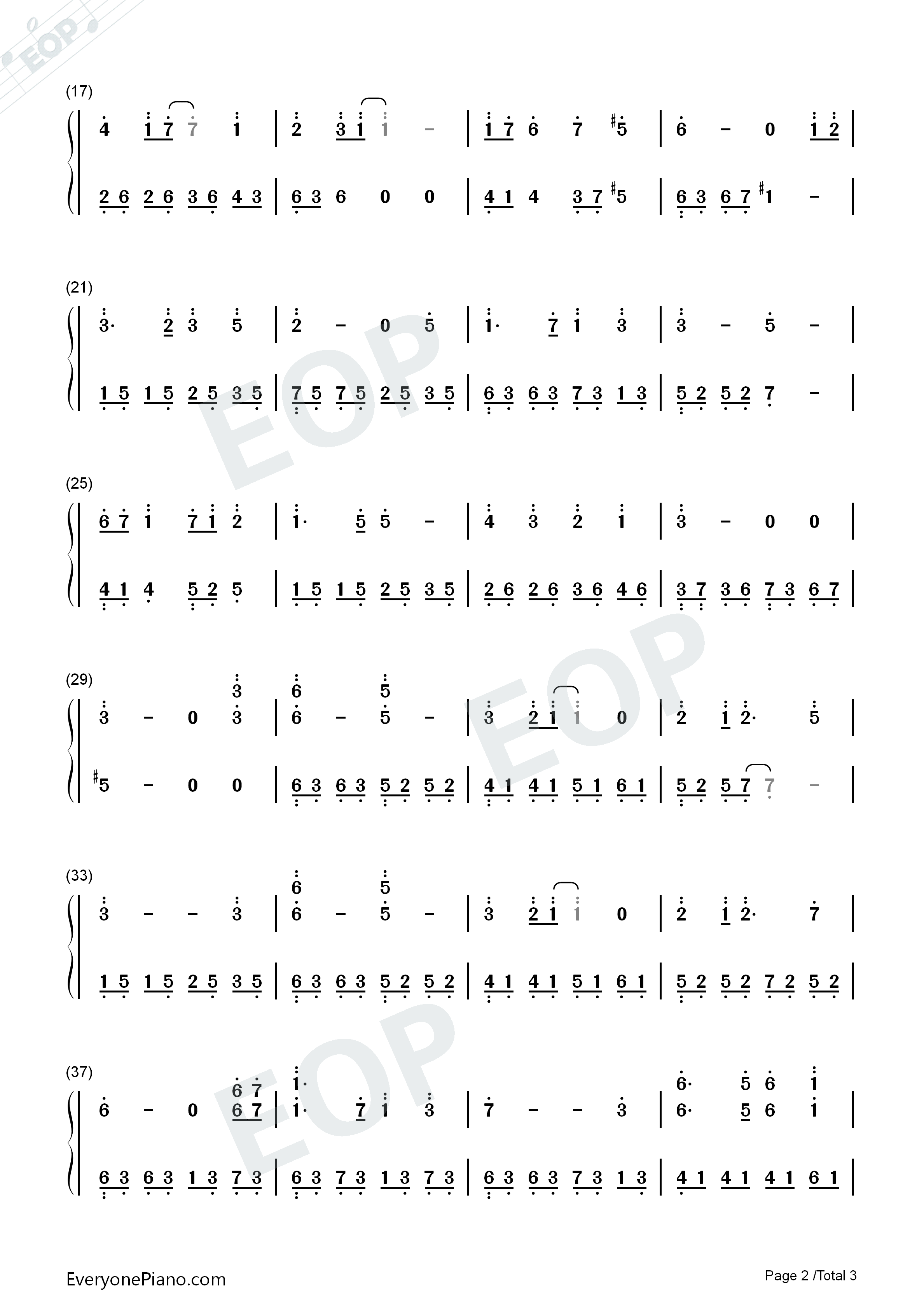 Castle in The Sky in C Major Advanced Version-Joe Hisaishi Numbered Musical Notation Preview 2