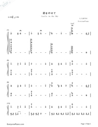 Castle in The Sky in C Major Advanced Version-Joe Hisaishi Numbered Musical Notation Preview 1