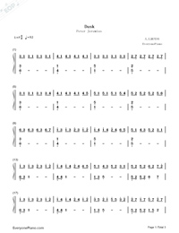 Dusk Original Version-Peter Jeremias Numbered Musical Notation Preview 1