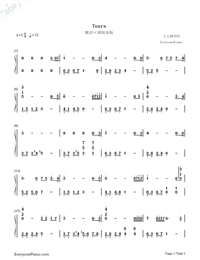 Tears in C Major Simple Version-The Daydream Numbered Musical Notation Preview 1